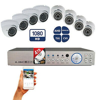 8 Channel HD H.264 DVR + 8x HD Night Vision CCTV Security Camera System w/ 4TB