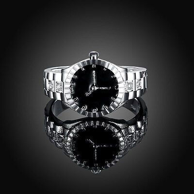 Fashion Creative Women Quartz Silver Finger Ring Watch Alloy Jewelry Gift HOT