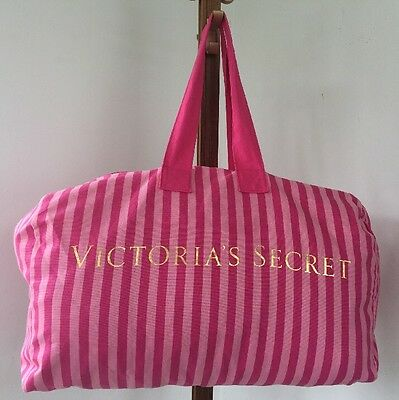 VICTORIA'S SECRET Duffle Bag Canvas Extra Large Pink Gold Striped Weekender