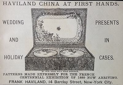 Antique 1888 Ad (1800-14)~Haviland China Cases For Wedding And Holiday