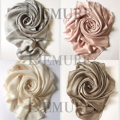 Satin Silk Hijab Scarf Elegant Plain Maxi High Quality Shawl Wrap Cape Sarong