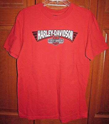 Men's T-Shirt Size L Large Harley-Davidson Red Bloomington Indiana Soft Cotton