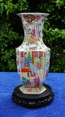 Good Chinese Canton Antique 19thC Vase, Hand Decorated People, Scrolls