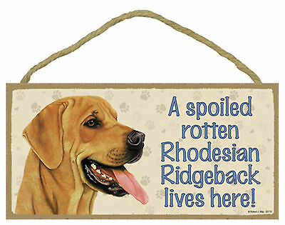 A spoiled rotten Rhodesian Ridgeback lives here! Wood Puppy Dog Sign Made in USA