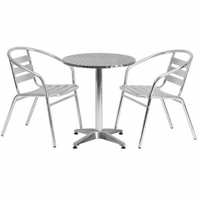 23.5'' Round Aluminum Indoor-Outdoor Table with 2 Slat Back Chairs FLATLHALUM24R