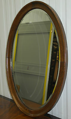 Stunning Solid English Oak 1940's Beveled Oval Glass Mirror Nice Size 85Cm Tall