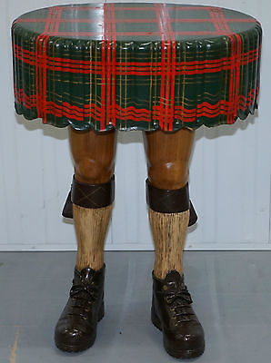 Very Rare And Desirable Scottish Kilt Table Hand Carved From Solid Tibers Woods