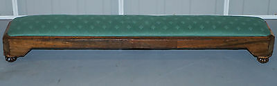 Rare Very Long Sloped Victorian Walnut Silk Upholstered Footstool Lovely Patina