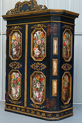 Original Antique Circa 1780 - 1800 French Oak Wardrobe Hand Painted Flowers
