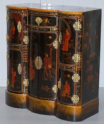 Stunning Bow Fronted Chinese / Oriental Chinoiserie Black Lacquer Cabinet Drawer