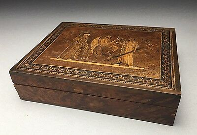 Antique Circa 1900 Sorrento Ware Inlaid Wood Playing Card Box