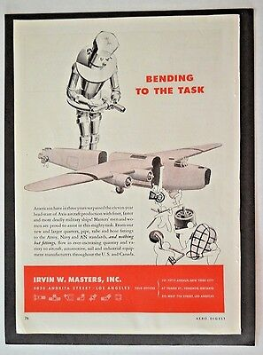 1943 WW2 WWII  Irvin Masters  Nut Bolt Fittings Robot  Vintage Print Ad