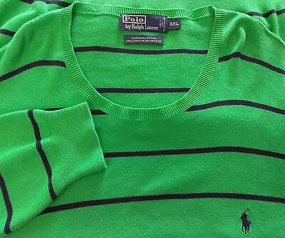 Polo Ralph Lauren Pima Cotton Sweater Green Navy Stripe Mens 2XL XXL (ID-A239)