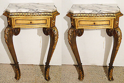 Antique french wood and marble pair of nightstands Carved goldleaf wood
