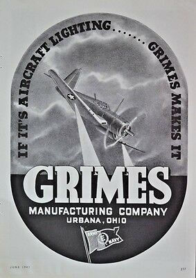 1943 WW2 WWII  Grimes Lighting Aircraft Industry Parts  Vintage Print Ad