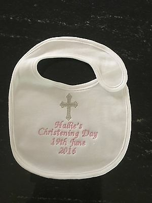 Christening bib, embroidered, personalised