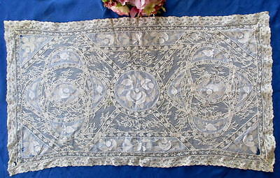 Antique Hand Made Normandy Lace Panel/table Center~Made In France Tag~Faults
