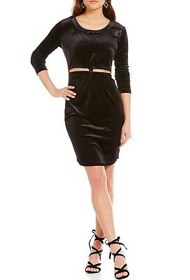 3fc392cb4ea NEW! GB GIANNI Bini Velvet Twist Front Cutout Sheath Dress Black Sz ...