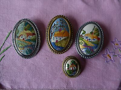 Vintage Hand Embroidered Brooches/set Of 4 Beautifully Embroidered Pins/brooches