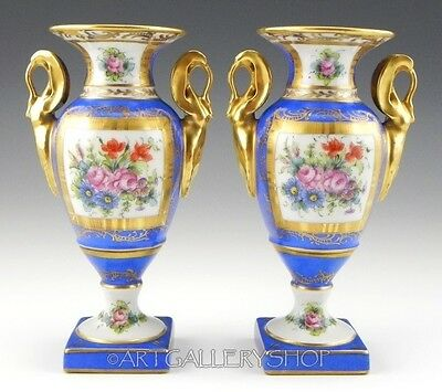 Pair of Antique France HANDPAINTED VASES FLOWERS & GOLD GILDED Artist Initials