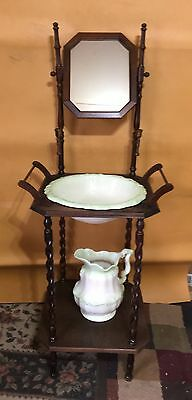 Antique Wooden Wash Basin Stand With Mirror & Pitcher/bowl Set