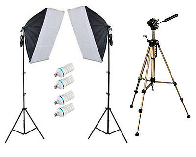 900w Photo Video Continuous Softbox Lighting Kit w/ WT330A Tripod