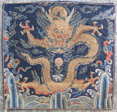 Antique embroidered Chinese rank badge Early Qing Dynasty 18thC 4 toe Dragon