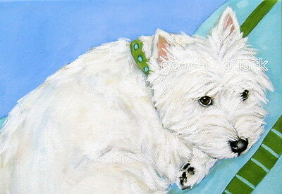 """West Highland Terrier WESTIE MATTED PRINT Painting """"WATCHING TV"""" Dog RANDALL"""