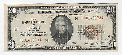 Circulated 1929 $20 National Currency Note--Federal Reserve Bank of St. Louis