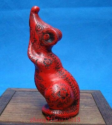 Antique Handmade Carved  lacquerware Twelve zodiac Rat Deco Art