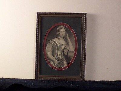 Antique Carved Wood Frame Silver Gilt - Worn  5+By7+ & Old B&w Etching Oval Mats