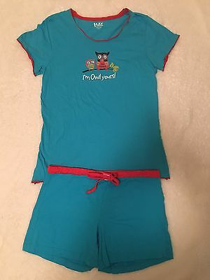 "Lazy One Women's ""I'm Owl Yours"" Shorts Pajama Set Size L XL"