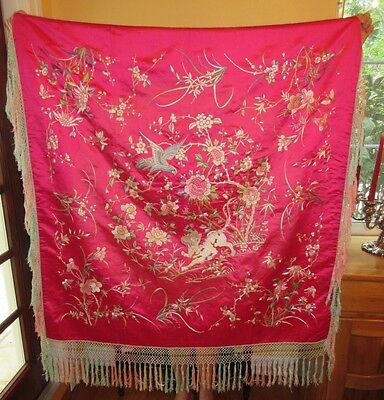 1900's BRIGHT FUCHSIA Antique Chinese SILK Tapestry Piano Shawl