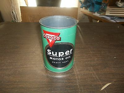 Vintage Conoco Super Motor Oil Empty Quart Oil Can Gas Station Advertising!