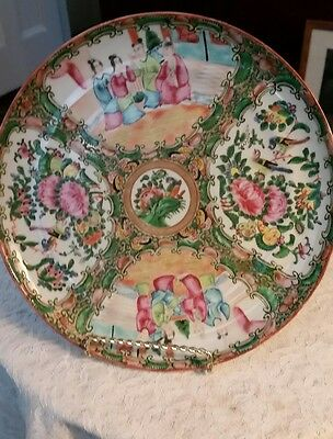 """Antique Very Early Chinese Rose Medallion 9 3/4"""" Plate"""