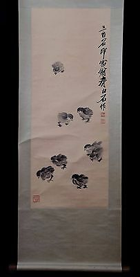 Rare Large Old Chinese Paper Hand Painting Chicken QiBaiShi Marks PP928