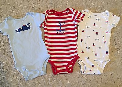 Carter's ~ Lot of 3 Baby Boys Bodysuit ~ Size 18 M ~ Pre-owned
