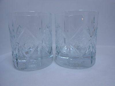 Set of 2 DEWAR'S Scotch Glasses NEW Embossed Celtic Knot 8 oz White Label Whisky