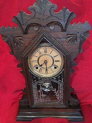 Antique ANSONIA Clock Co Walnut Victorian Mantle Clock Fancy 1882 8 Day T & S