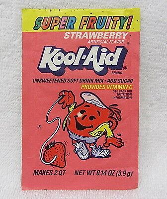 VINTAGE Kool-Aid SUPER FRUITY STRAWBERRY Drink Mix Packet  Unopened 1990s