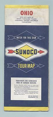 Old Sunoco Road Map OHIO OH US Tour map vintage 1960