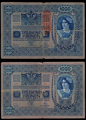 Austria Hungary 1,000 Kronen 1920 Osterreich Overprint Circulated #748