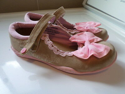 Naartjie Brown & Pink Leather W/Bow Mary Janes. Size Girl's 2