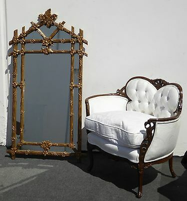 LARGE Vintage Italian Gold Gilt Floral Design WALL Mantle MIRROR  Made in ITALY