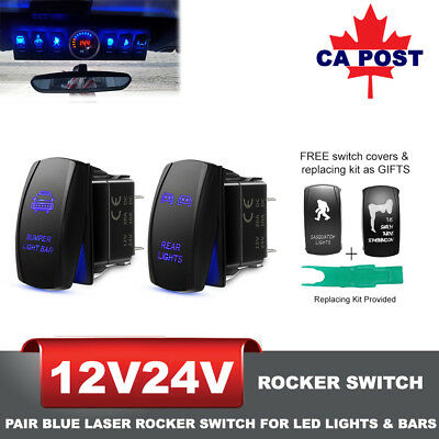 2x Blue Laser Rocker Switch + Replacing Kit for LED Work Light Bar 5Pins 12V 24V