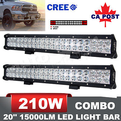 2X 20Inch 210W CREE LED Flood Spot Combo Light Bars Offroad UTE Boat 4WD Truck