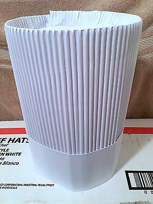 "New in Box (12) Sysco Classic 10"" White Paper Fluted Chef Hats (Dozen) Free Ship"