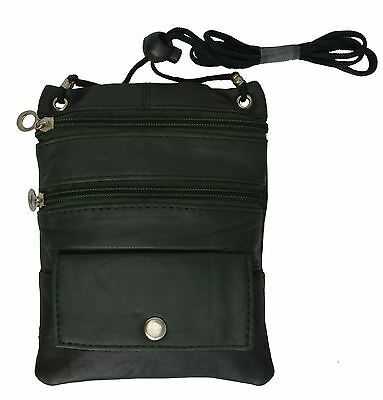 New PASSPORT Leather ID Holder Neck Travel Pouch Wallet cross body Black