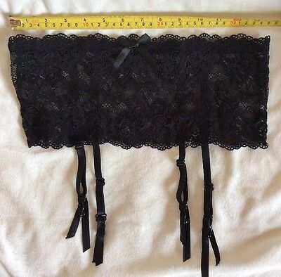 iCOLLECTON Lace Garter Belt with elastic waist BLACK S/M   NEW NO TAGS