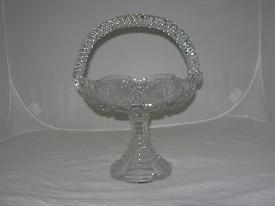 ~rare Antique CUT CRYSTAL Tall PEDESTAL GLASS BASKET with twisted Rope Handle~